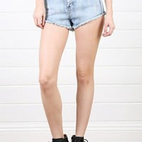DP5131 Denim High Waist Distressed Spike Stud Shorts and Shop Apparel at MakeMeChic.com