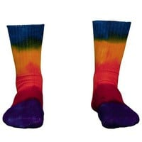 Bamboo Socks for Adults Tie Dye in Rainbow Stripes