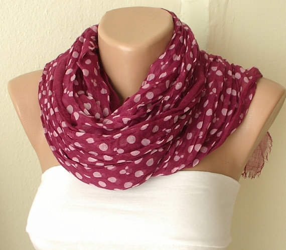 Dotted Mouse Cotton Wine Red Spring Scarf by Periay on Etsy