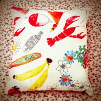 Watercolour Print Colourful Cotton Cushion. | Luulla