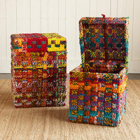 ONE OF A KIND MULTICHECK WOVEN STORAGE BOXES