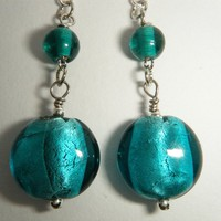 Blue - Green Glass Bead Earrings