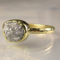 Rough Diamond Ring 18k and 14k Gold