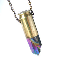 rainbow titanium quartz crystal bullet necklace
