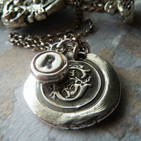 Personalized Necklace. Two Monogram Initial Letters. Wax Seal. Typewriter Key. Fine Silver. Made to Order