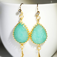 Earrings with mint green jade