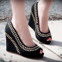 Rosette Scarlett-01 Gold Studded Peep Toe Platform Wedge - Shoes 4 U Las Vegas