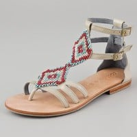 Cocobelle Aztec Beaded Flat Sandals | SHOPBOP
