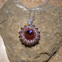 Crystal Bezel Necklace in Topaz and Smoked Topaz - Crystal Necklace - Beaded Crystal Necklace