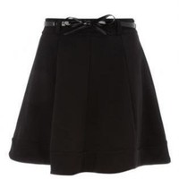 Black Mini Skirt - Black Flared Mini Skirt with | UsTrendy
