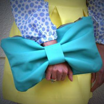 Teal/Turquoise Clutch - Teal Leather Bow Clutch | UsTrendy
