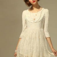 White Mini Dress - Bqueen Round Neck Chiffon Dress | UsTrendy