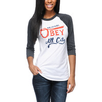 Obey All City Originals White &amp; Charcoal Baseball Tee Shirt
