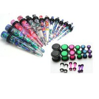 36pc Ear Stretching Kit Color Neon Plugs and Color Tapers 00g 0g 2g 4g 6g 8g 10g 12g 14g Gauges Plus Instructions