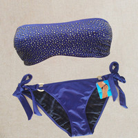 New Victoria's Secret Very Sexy Embellished Bandeau Blue Bikini Swimsuit S XS