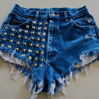 Dark Denim, High Wasted Shorts, With Studs