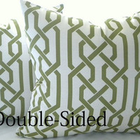 Trellis Pillow Cover light grey with Samba apple overlapping trellis design 18x18 Double Sided