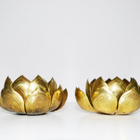 Vintage Pair of Brass Lotus Flower Candle Holders Brass Candle Holders Stamped Japan