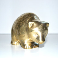 Vintage Brass Bear Figurine Brass Bear Teddy Bear Animal Figurine Brass Statues