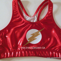Flash Man Super Hero Metallic Sports Bra Cheerleading