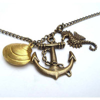 Antiqued Brass Seahorse Anchor Shell Necklace by gemandmetal