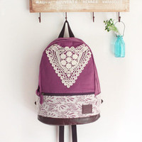 [grd03052]Fashion Purple Backpack with Crochet