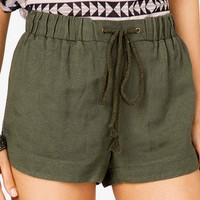 FOREVER 21 Linen Blend Dolphin Shorts Navy X-Small
