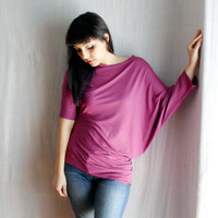 Plum purple asymmetrical tshirt in jersey Size SM by AliceCloset