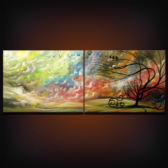retro landscape painting large tree painting cloud by mattsart