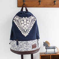 Preppy Canvas Backpack with Lace
