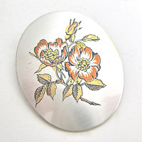 Vintage Brooch Pendant Pin Autumn Flowers Reed and Barton Damascene