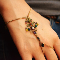 Pretty Gypsy Slave Bracelet //Antique Gold Multi-Colored Stones