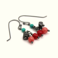 gemstone dangle earrings wire wrapped mixed stone earrings bright earrings coral pink turquoise hematite jade