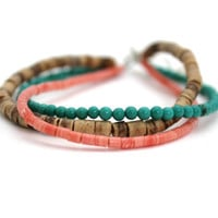 indie bracelet beach bracelet turquoise coral and wood three strand bracelet natural bracelet set
