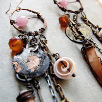 rainmaker  assemblage earrings  long bohemain by sparrowsalvage