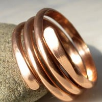 Wide band copper wrap around ring unisex