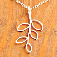 Silver Branch Necklace - twig necklace, silver twig necklace, leaf necklace, nature necklace, tree necklace