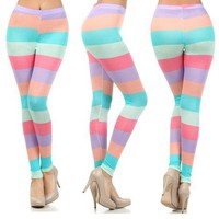 Pastel Purple Mint Coral Peach Striped Comfy Stretch Leggings USA Made Fashion