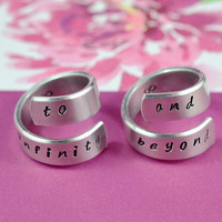 to infinity and beyond - Hand Stamped Aluminum Couples Ring Set, Twist Rings, Shiny,  Skinny, Handwritten Font Version