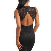 NO COMPETITION ALL BLACK LACE DRESS WITH OPEN BACK.