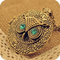 Blue-eyed retro OWL circles necklace sweater chain   130