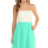 strapless day dress with lace bodice and chiffon high low hem - debshops.com