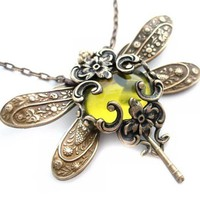 Olive Divine Dragonfly necklace Victorian style by Federikas