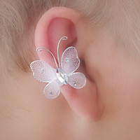 Bridal / Quinceaneara Ear Cuff Pair/ Butterfly and Jewel/ Non pierced
