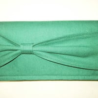 Forest Green Checkbook Cover with Bow