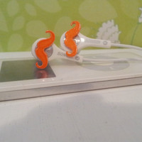 NEW Neon Orange mustache earbuds