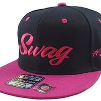Vintage Swag Flat Bill Snap Back Baseball Cap Hat Black/Pink