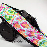 dSLR Camera Strap, Abstract Peacock, Teal, Green, Yellow, Sky Blue, SLR