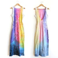 "The Original ""Splash Dyed"" Hand PAINTED Deep V Backless Reversible Jersey Maxi Dress in White Spectrum Rainbow - S M L"
