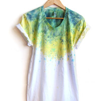 The Original &quot;Splash Dyed&quot; Hand PAINTED Scoop Neck Pinned Rolled Cuffs Tee in White Spectrum Blue Gold Geode  - S M L XL 2XL 3XL